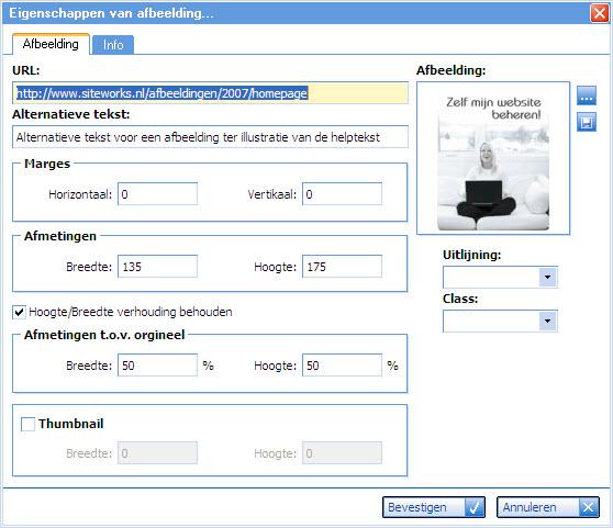 screenshot van het afbeelding eigenschappen scherm