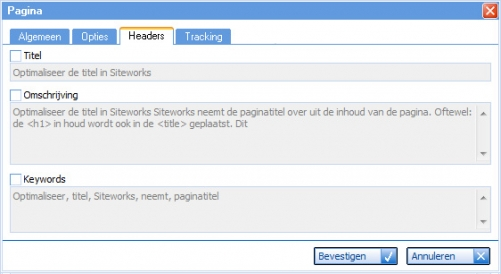 Paginatitel in Siteworks
